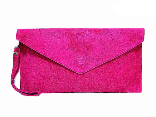 GENUINE SUEDE FUSHCIA PINK OVER-SIZED ENVELOPE CLUTCH BAG / SHOULDER BAG WITH LONG SHOULDER STRAP