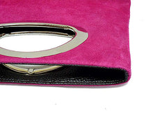 ORDER BY REQUEST - GENUINE SUEDE FUSHCIA PINK HOLDALL HANDBAG / FOLD-OVER CLUTCH BAG