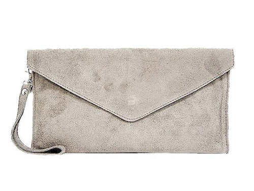 GENUINE SUEDE GREY OVER-SIZED ENVELOPE CLUTCH BAG / SHOULDER BAG WITH LONG SHOULDER STRAP