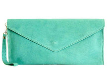 A-SHU GENUINE SUEDE LIGHT BLUE OVER-SIZED ENVELOPE CLUTCH BAG / SHOULDER BAG WITH LONG SHOULDER STRAP - A-SHU.CO.UK