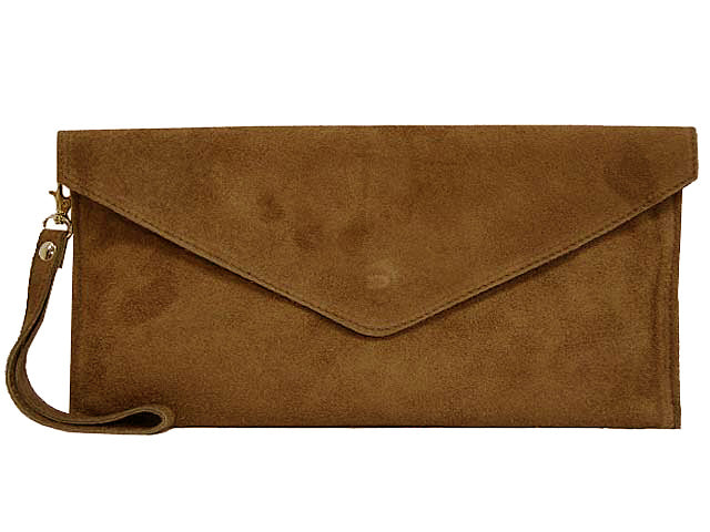 A-SHU GENUINE SUEDE MOCHA BROWN OVER-SIZED ENVELOPE CLUTCH BAG / SHOULDER BAG WITH LONG SHOULDER STRAP - A-SHU.CO.UK