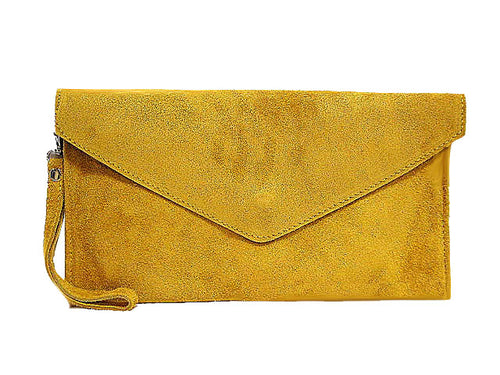 GENUINE SUEDE MUSTARD YELLOW OVER-SIZED ENVELOPE CLUTCH BAG / SHOULDER BAG WITH LONG SHOULDER STRAP