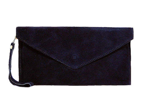 GENUINE SUEDE NAVY BLUE OVER-SIZED ENVELOPE CLUTCH BAG / SHOULDER BAG WITH LONG SHOULDER STRAP