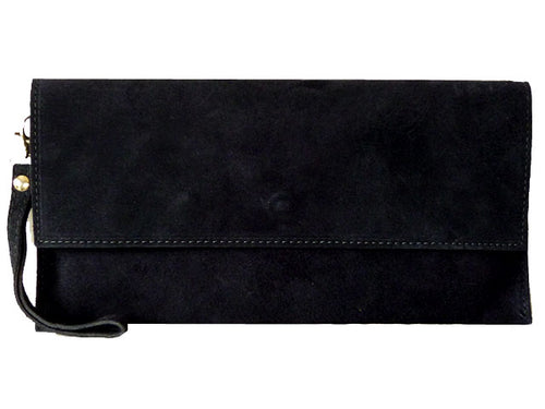 GENUINE SUEDE NAVY BLUE OVER-SIZED SQUARE ENVELOPE CLUTCH BAG / SHOULDER BAG WITH LONG CROSS BODY STRAP