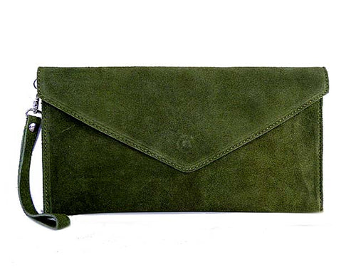 ORDER BY REQUEST - GENUINE SUEDE OLIVE OVER-SIZED ENVELOPE CLUTCH BAG / SHOULDER BAG WITH LONG SHOULDER STRAP