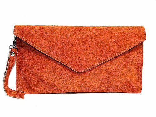 GENUINE SUEDE ORANGE OVER-SIZED ENVELOPE CLUTCH BAG / SHOULDER BAG WITH LONG SHOULDER STRAP