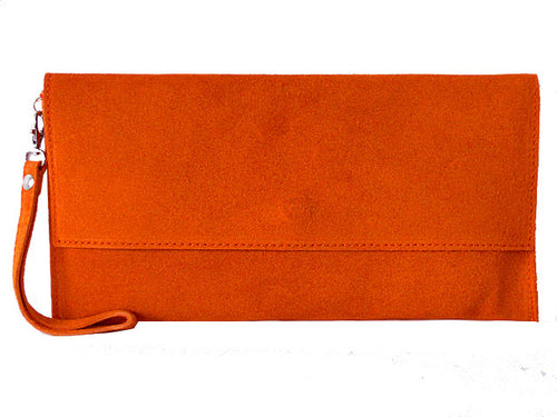 GENUINE SUEDE ORANGE OVER-SIZED SQUARE ENVELOPE CLUTCH BAG / SHOULDER BAG WITH LONG CROSS BODY STRAP