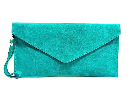 GENUINE SUEDE TURQUOISE OVER-SIZED ENVELOPE CLUTCH BAG / SHOULDER BAG WITH LONG SHOULDER STRAP