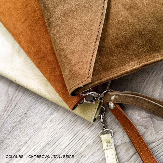 A-SHU GENUINE SUEDE LIGHT BROWN OVER-SIZED ENVELOPE CLUTCH BAG / SHOULDER BAG WITH LONG SHOULDER STRAP - A-SHU.CO.UK