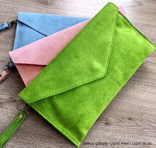 A-SHU GENUINE SUEDE GREEN OVER-SIZED ENVELOPE CLUTCH BAG / SHOULDER BAG WITH LONG SHOULDER STRAP - A-SHU.CO.UK