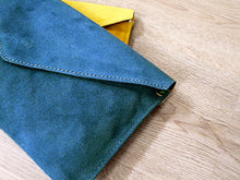 A-SHU GENUINE SUEDE TEAL BLUE OVER-SIZED ENVELOPE CLUTCH BAG / SHOULDER BAG WITH LONG SHOULDER STRAP - A-SHU.CO.UK