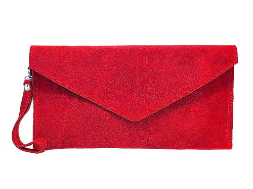 ORDER BY REQUEST - GENUINE SUEDE RED OVER-SIZED ENVELOPE CLUTCH BAG / SHOULDER BAG WITH LONG SHOULDER STRAP