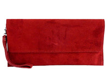 A-SHU GENUINE SUEDE RED OVER-SIZED SQUARE ENVELOPE CLUTCH BAG / SHOULDER BAG WITH LONG CROSS BODY STRAP - A-SHU.CO.UK