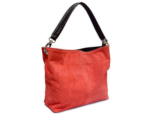 GENUINE SUEDE SMALL MULTI-COMPARTMENT HANDBAG - SALMON