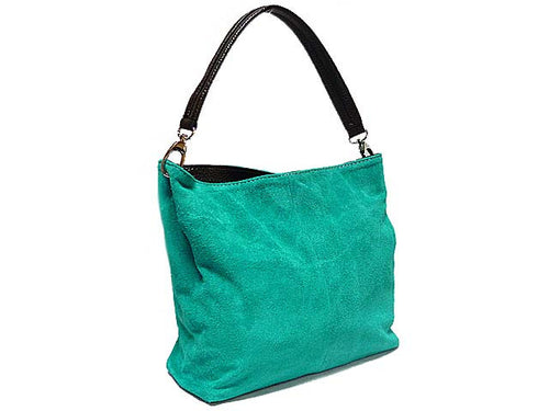 GENUINE SUEDE SMALL MULTI-COMPARTMENT HANDBAG - TURQUOISE