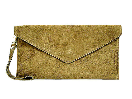GENUINE SUEDE TAUPE OVER-SIZED ENVELOPE CLUTCH BAG / SHOULDER BAG WITH LONG SHOULDER STRAP