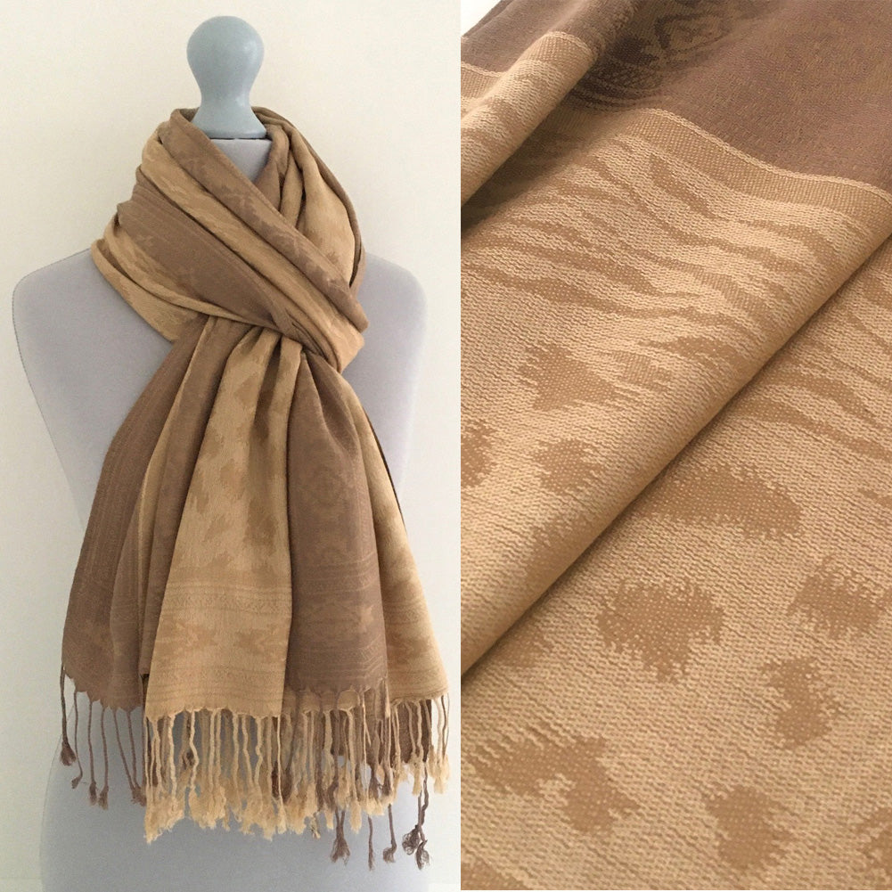 A-SHU GOLD ANIMAL PRINT REVERSIBLE PASHMINA SHAWL SCARF - A-SHU.CO.UK