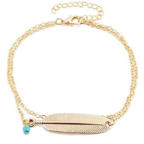 A-SHU GOLD LEAF DESIGN BOHEMIAN ANKLET / ANKLE BRACELET - A-SHU.CO.UK