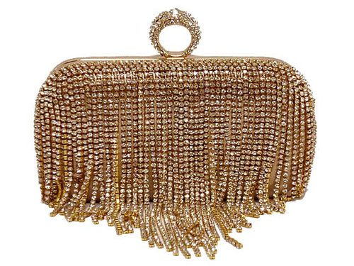 A-SHU GOLD RING DIAMANTE HARDBACK CLUTCH BAG WITH LONG CHAIN STRAP - A-SHU.CO.UK