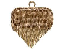 GOLD RING DIAMANTE HARDBACK CLUTCH BAG WITH LONG CHAIN STRAP
