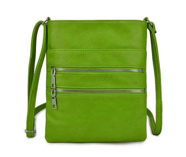 GREEN SLIM MULTI POCKET CROSS BODY BAG WITH LONG SHOULDER STRAP