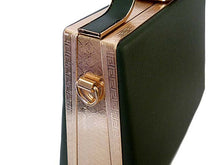 A-SHU GREEN HARDBACK METAL HOLDALL HANDBAG WITH LONG STRAP - A-SHU.CO.UK