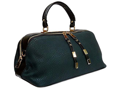 A-SHU GREEN LEATHER EFFECT MULTI-COMPARTMENT HANDBAG WITH LONG SHOULDER STRAP - A-SHU.CO.UK
