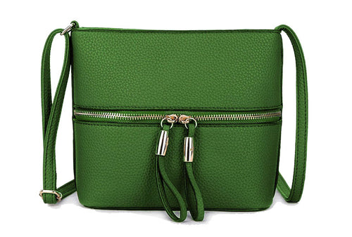 GREEN MULTI COMPARTMENT CROSSBODY BAG WITH LONG STRAP