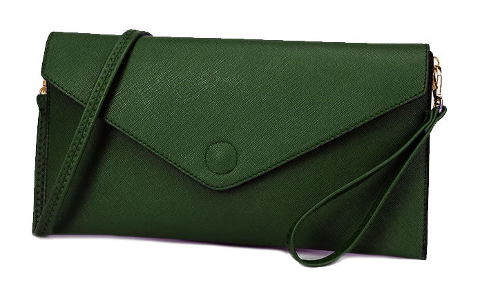 A-SHU GREEN OVER-SIZED ENVELOPE CLUTCH BAG WITH LONG CROSS BODY AND WRISTLET STRAPS - A-SHU.CO.UK