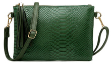 GREEN PATENT SNAKESKIN TASSEL CLUTCH BAG WITH LONG CROSS BODY SHOULDER STRAP
