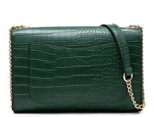 GREEN SNAKESKIN CROSS BODY SHOULDER BAG WITH LONG GOLD CHAIN STRAP