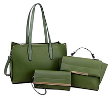 A-SHU GREEN TOTE HANDBAG SET WITH SMALL HOLDALL CROSS BODY BAG AND CLUTCH BAG / PURSE WALLET - A-SHU.CO.UK