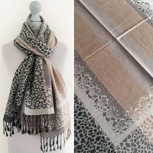 A-SHU GREY LEOPARD PRINT REVERSIBLE PASHMINA SHAWL SCARF WITH STRIPE - A-SHU.CO.UK