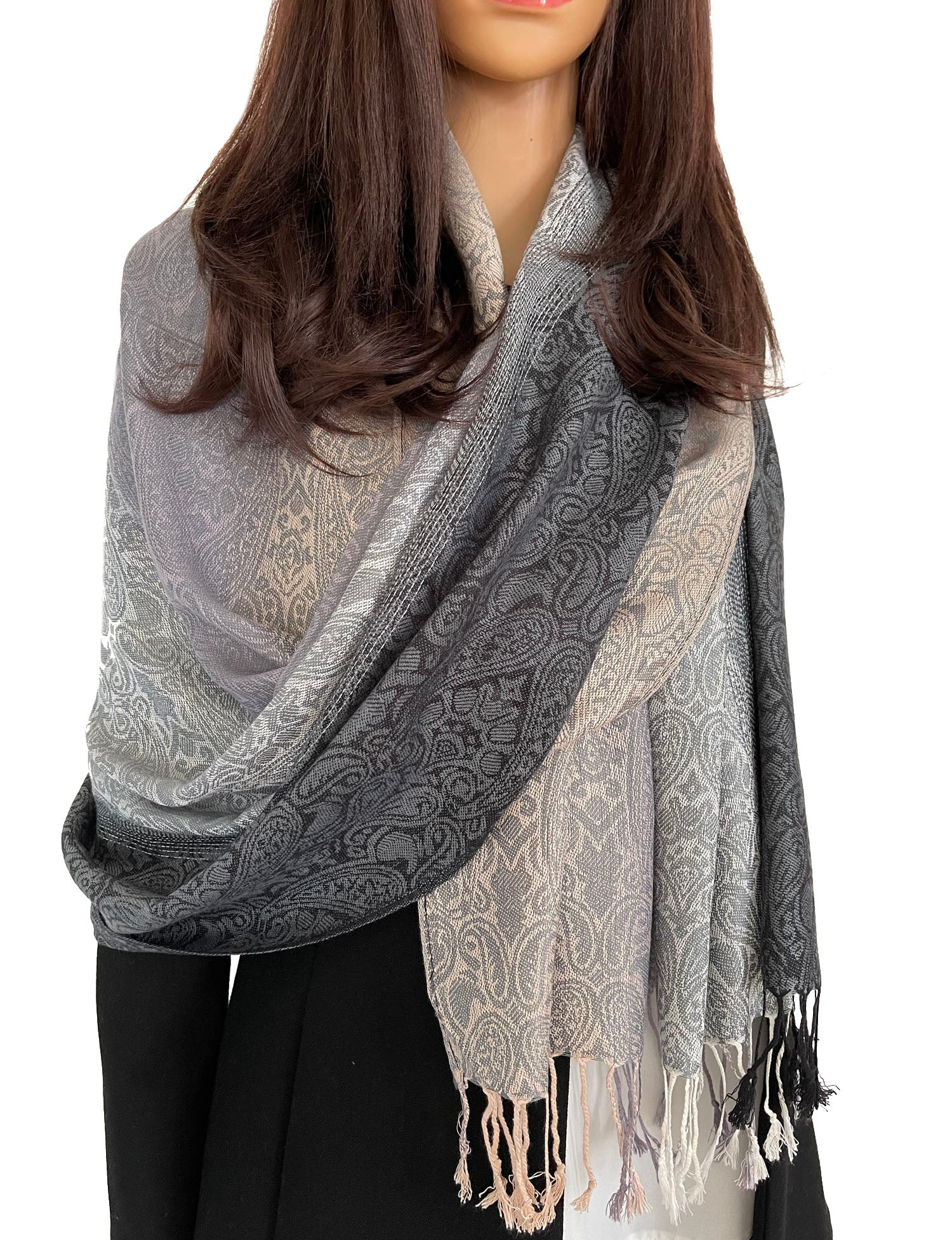 GREY OMBRE PAISLEY PRINT REVERSIBLE PASHMINA SHAWL SCARF
