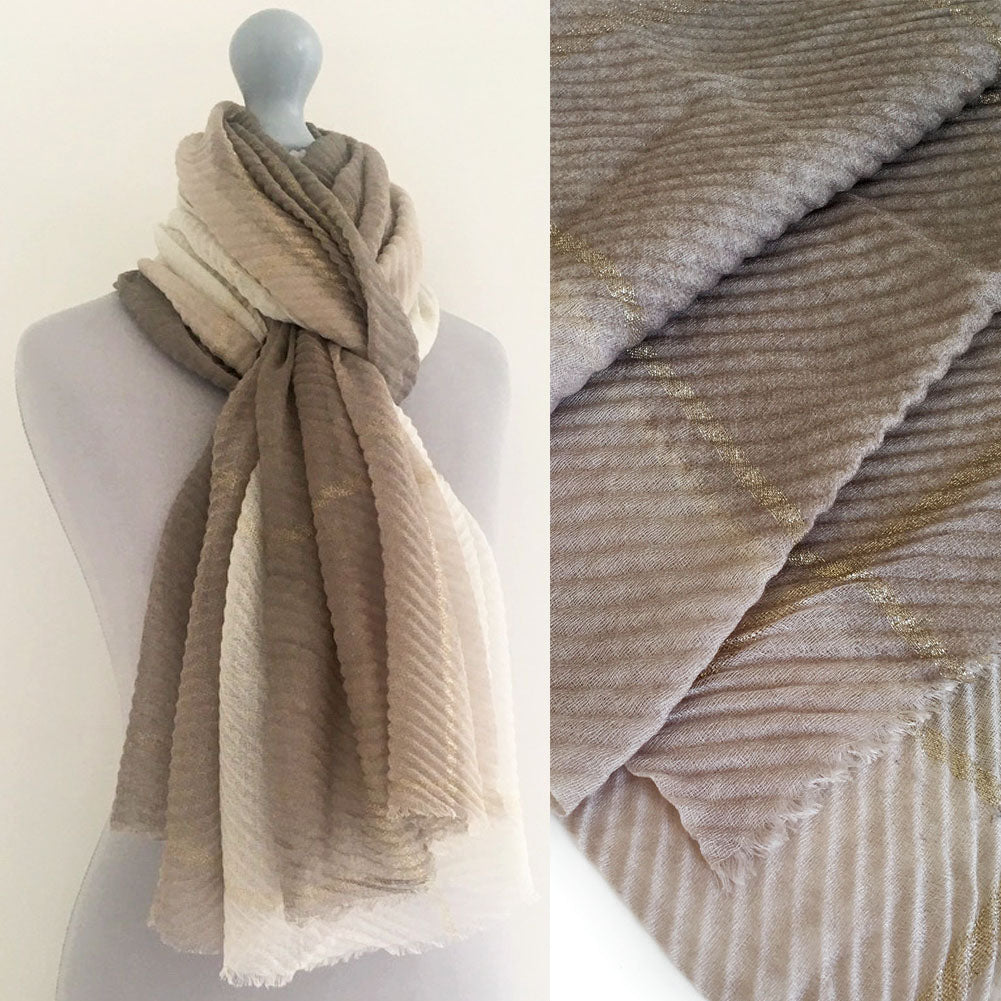 GREY OMBRE PLEATED METALLIC REVERSIBLE SHAWL SCARF