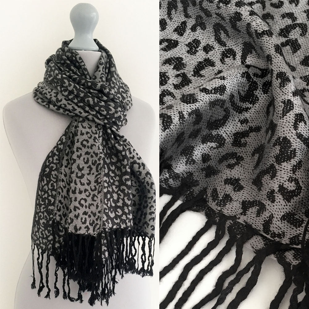 A-SHU GREY SMALL LEOPARD PRINT REVERSIBLE PASHMINA SHAWL SCARF - A-SHU.CO.UK
