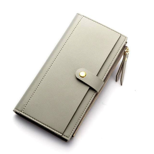 GREY FAUX LEATHER SLIM MULTI-COMPARTMENT PURSE WALLET WITH MOBILE PHONE SLOT
