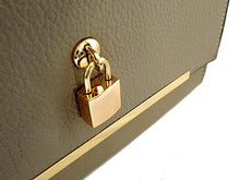A-SHU GREY HARDBACK BOX SHOULDER BAG WITH PADLOCK DESIGN AND LONG STRAP - A-SHU.CO.UK