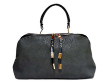 A-SHU ORDER BY REQUEST - GREY LEATHER EFFECT MULTI-COMPARTMENT HANDBAG WITH LONG SHOULDER STRAP - A-SHU.CO.UK