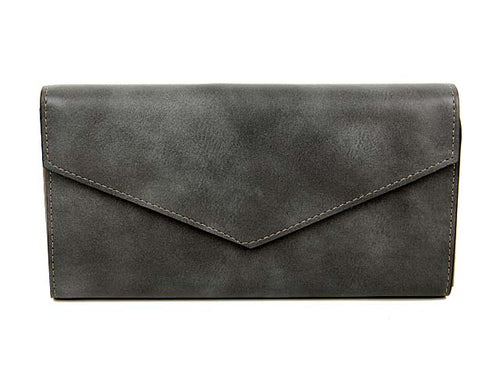 DARK GREY LEATHER EFFECT MULTI-COMPARTMENT PURSE WITH WRIST STRAP