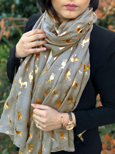GREY LONG ROSE GOLD DEER SCARF