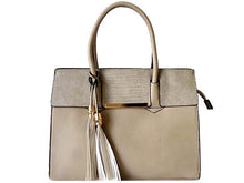 A-SHU GREY MULTI-COMPARTMENT TASSEL HANDBAG WITH LONG SHOULDER STRAP - A-SHU.CO.UK