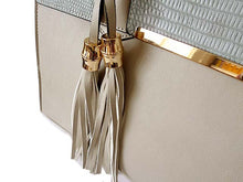 GREY MULTI-COMPARTMENT TASSEL HANDBAG WITH LONG SHOULDER STRAP