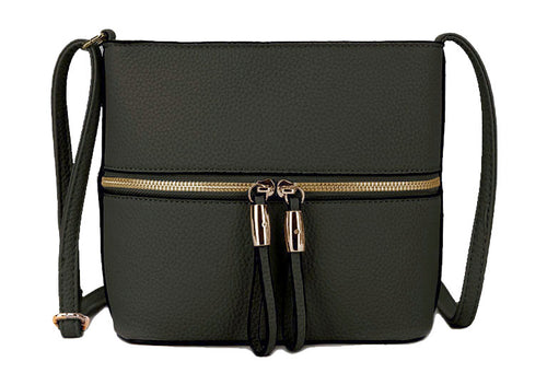 DARK GREY MULTI COMPARTMENT CROSSBODY BAG WITH LONG STRAP