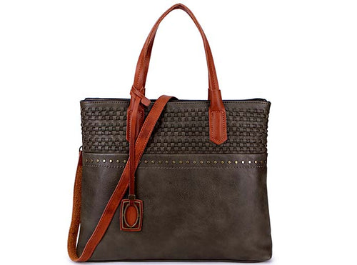 A-SHU TAUPE GREY PART GENUINE LEATHER TOTE BAG WITH LONG SHOULDER STRAP - A-SHU.CO.UK
