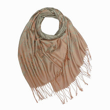 A-SHU GREY BLUSH REVERSIBLE PASHMINA SHAWL SCARF IN ABSTRACT PRINT - A-SHU.CO.UK