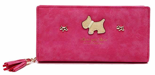 HOT PINK MULTI-COMPARTMENT DOG PURSE WALLET WITH TASSEL