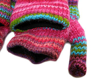 PURE WOOL HAND MADE PINK FINGERLESS MITTENS WITH FLEECE LINING