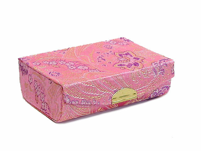 A-SHU PINK CHINESE DESIGN SILK EFFECT COIN HOLDER / LIPSTICK CASE - A-SHU.CO.UK