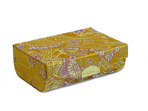 A-SHU MUSTARD YELLOW CHINESE DESIGN SILK EFFECT COIN HOLDER / LIPSTICK CASE - A-SHU.CO.UK